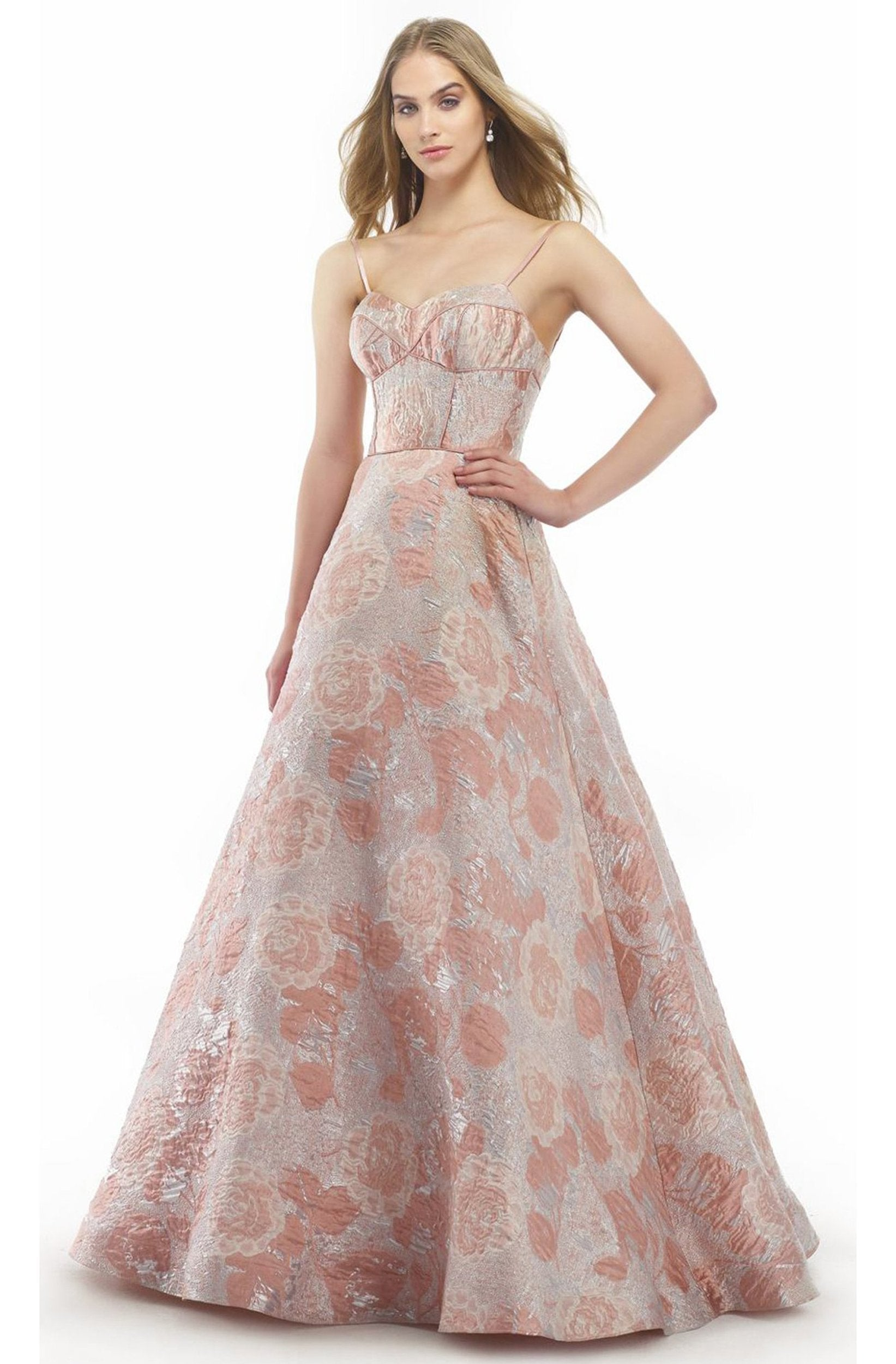 Morrell Maxie - 15813 Floral Embellished Sweetheart Ballgown in Pink and Silver