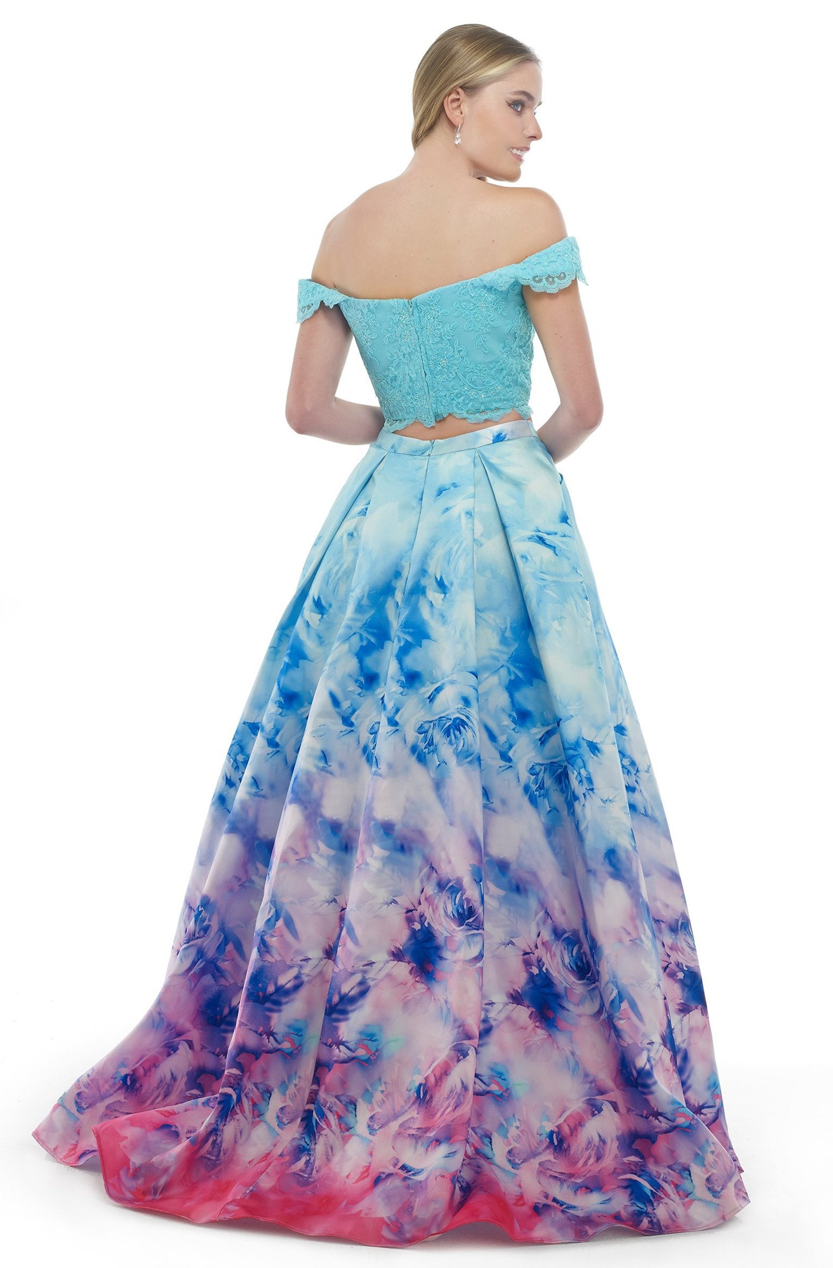 Morrell Maxie - 15836 Two-Piece Off-Shoulder Printed Ballgown in Blue