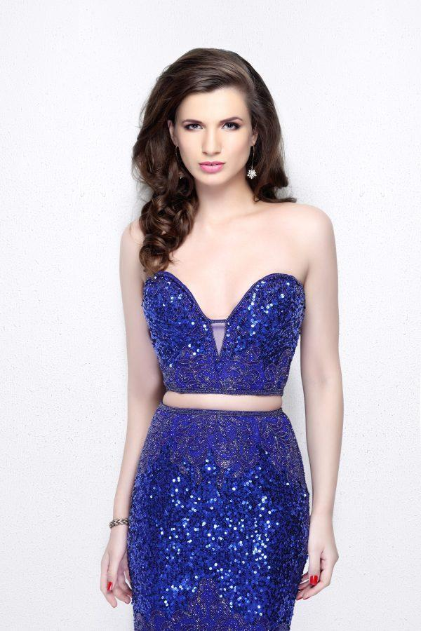 Primavera Couture - Two Piece Sequined Sweetheart Long Sheath Gown 1595 in Blue