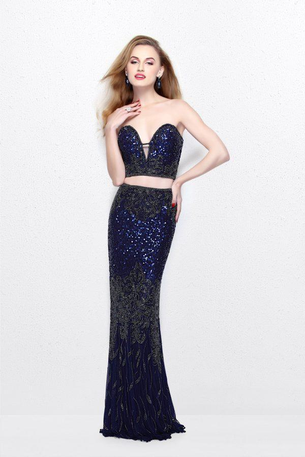 Primavera Couture - Two Piece Sequined Sweetheart Long Sheath Gown 1595 in Purple