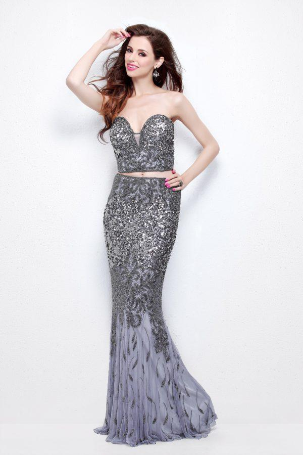 Primavera Couture - Two Piece Sequined Sweetheart Long Sheath Gown 1595 in Gray