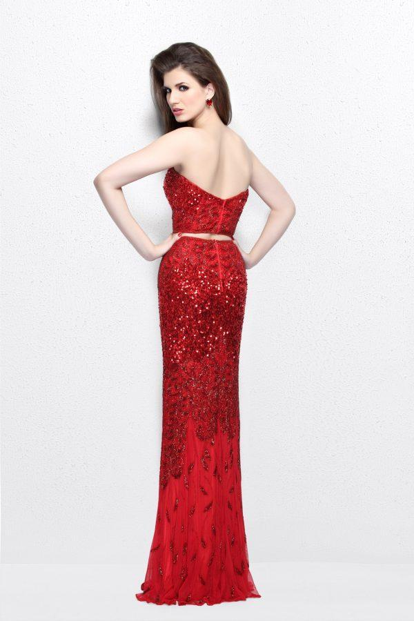 Primavera Couture - Two Piece Sequined Sweetheart Long Sheath Gown 1595 in Red