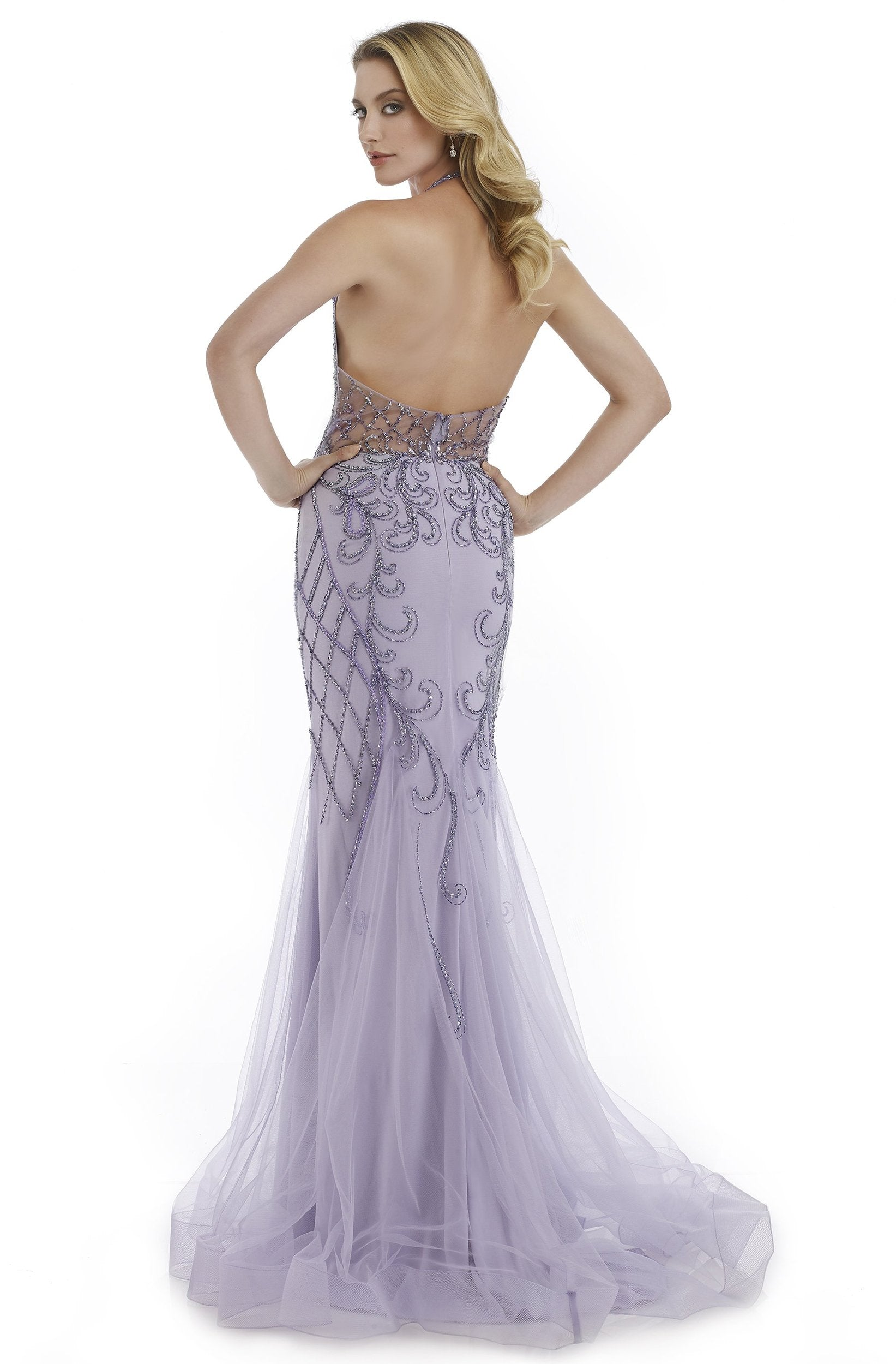 Morrell Maxie - 16003 Illusion Halter Neck Beaded Mermaid Gown in Purple