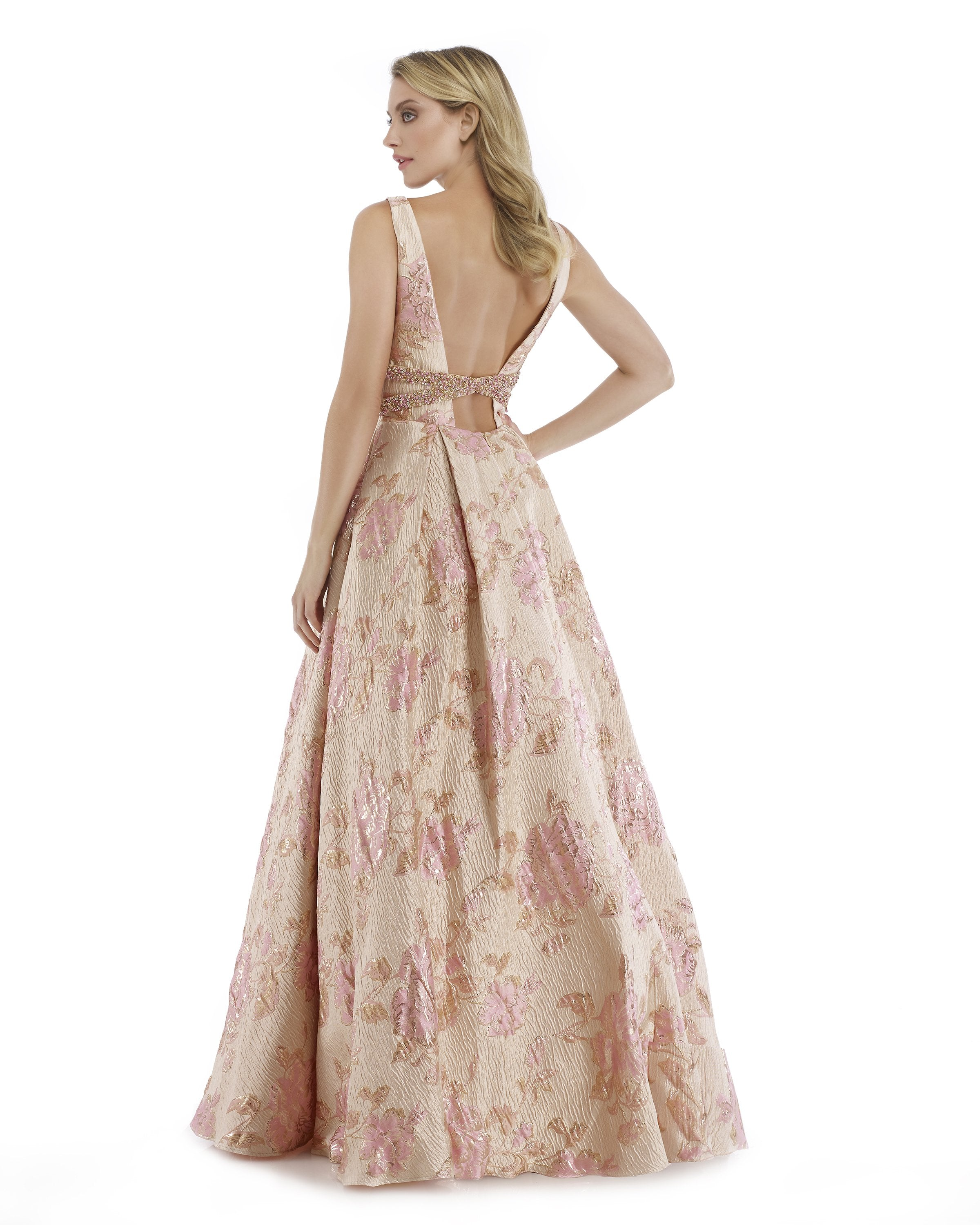 Morrell Maxie - 16028 Metallic Brocade Print Pleated A-line Dress in Pink