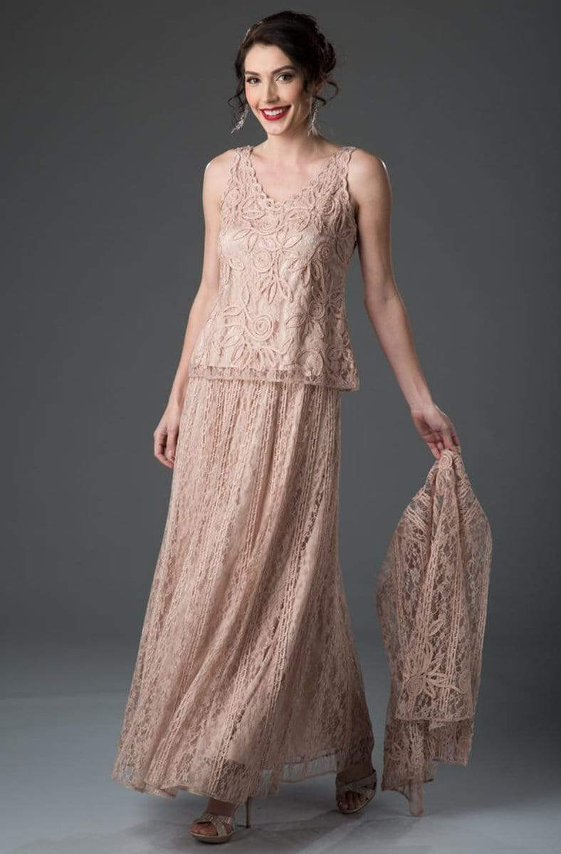 Soulmates - 1602 Embroidered Circle Skirt Three Piece Gown Mother of the Bride Dresses Dusty Rose / S
