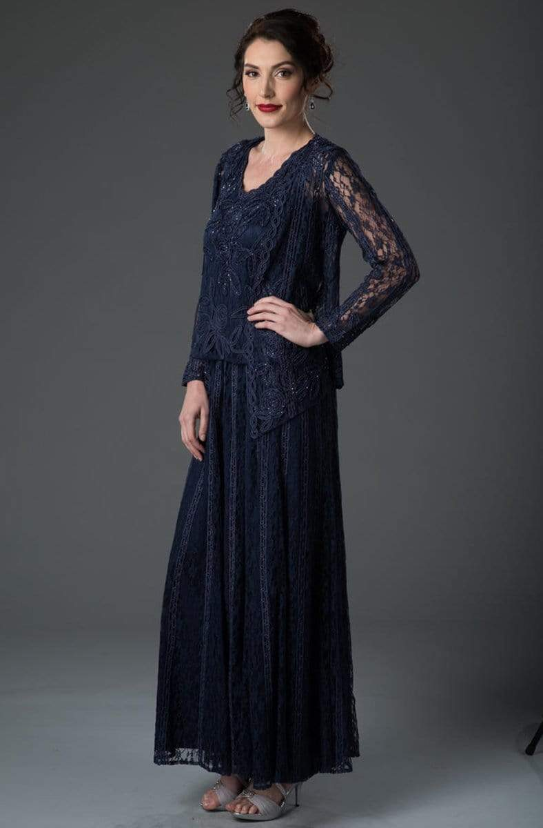Soulmates - 1602 Embroidered Circle Skirt Three Piece Gown Mother of the Bride Dresses Navy / S