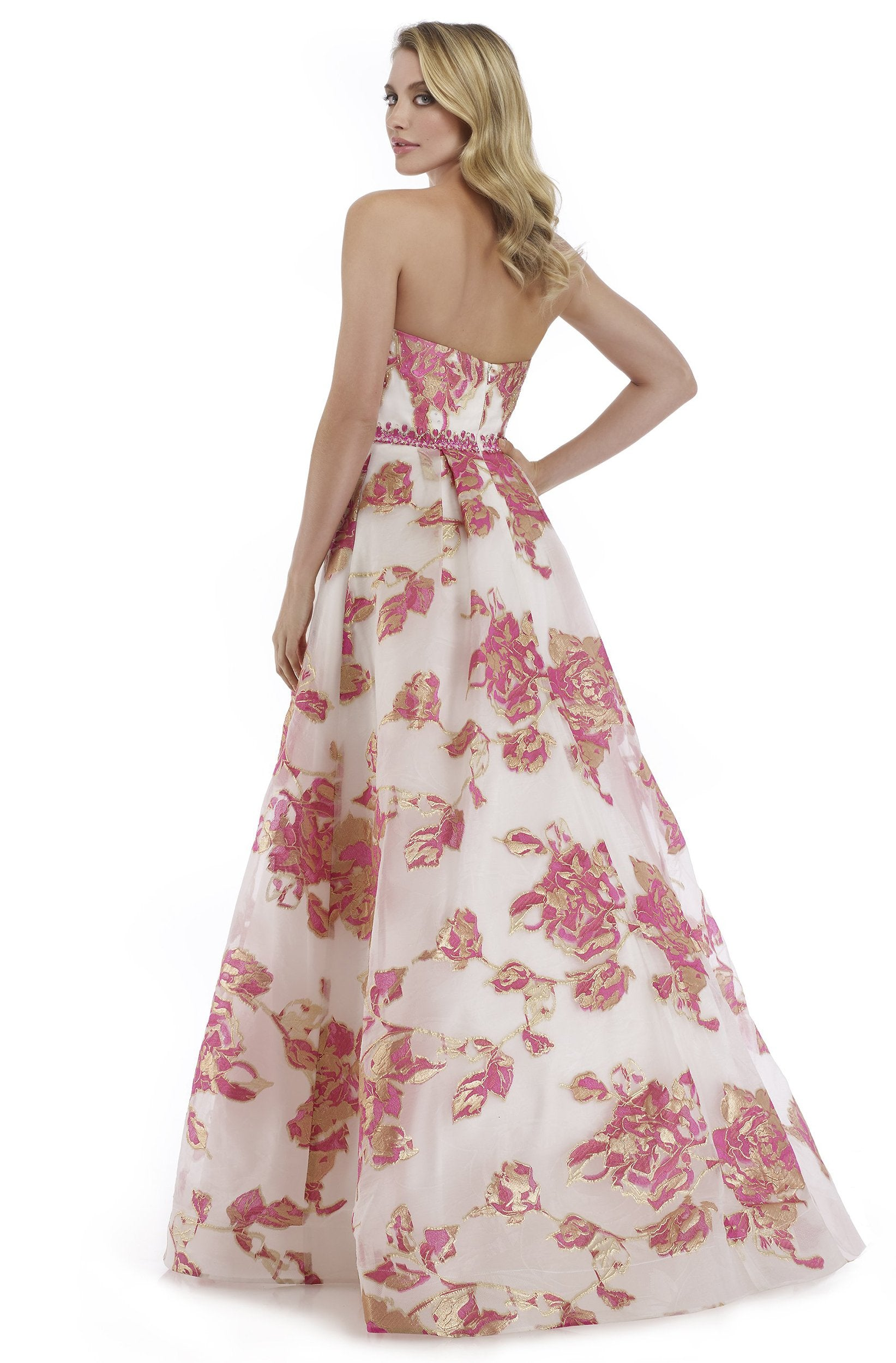 Morrell Maxie - 16049 Strapless Deep Sweetheart Brocade A-line Dress in Pink and Gold