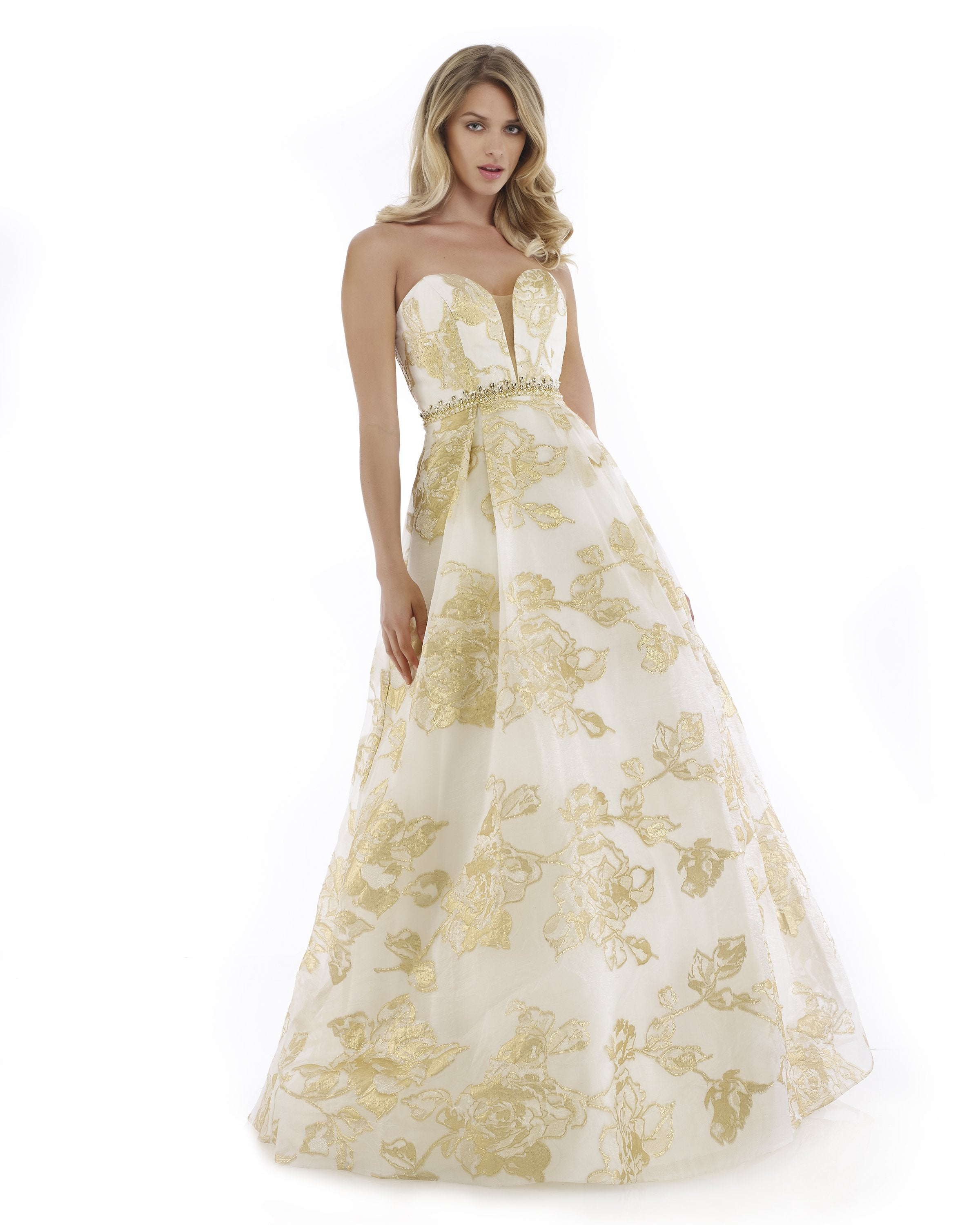 Morrell Maxie - 16049 Strapless Deep Sweetheart Brocade A-line Dress in White and Gold
