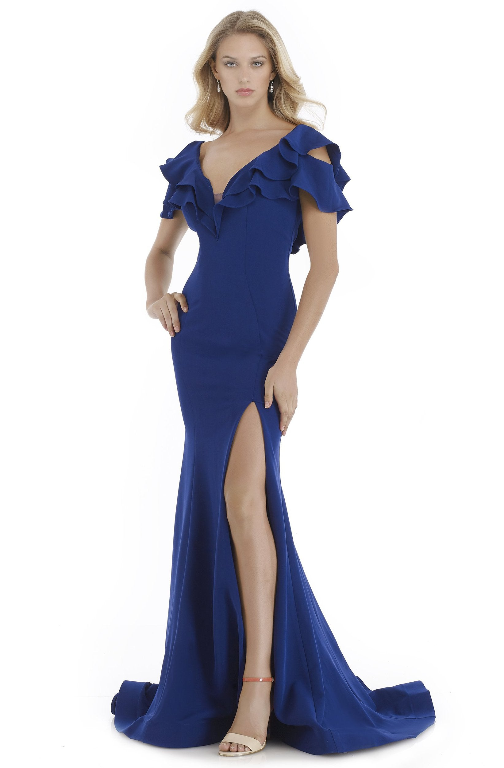 Morrell Maxie - 16064 Ruffled Plunging V-neck Mermaid Dress in Blue