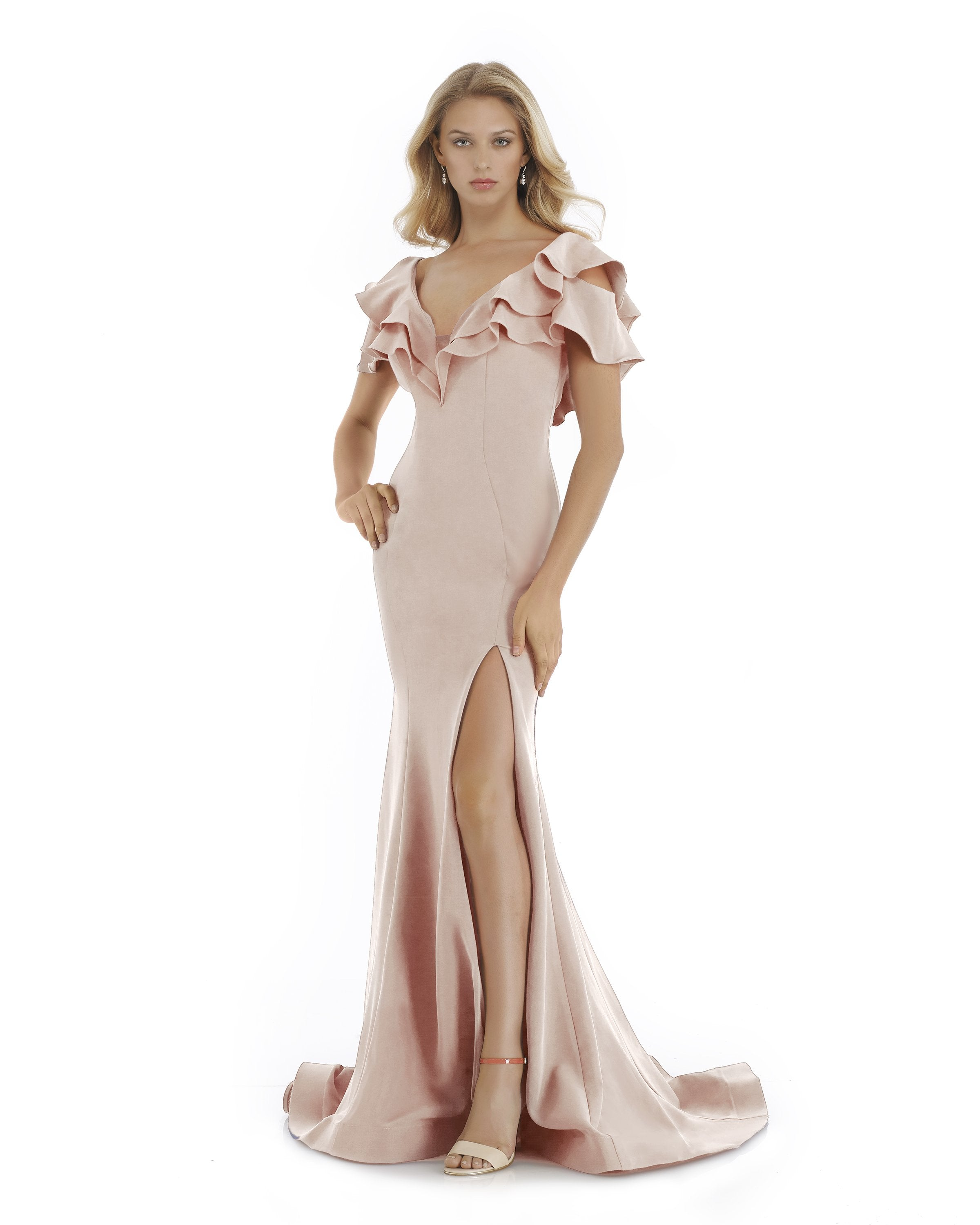Morrell Maxie - 16064 Ruffled Plunging V-neck Mermaid Dress in Pink