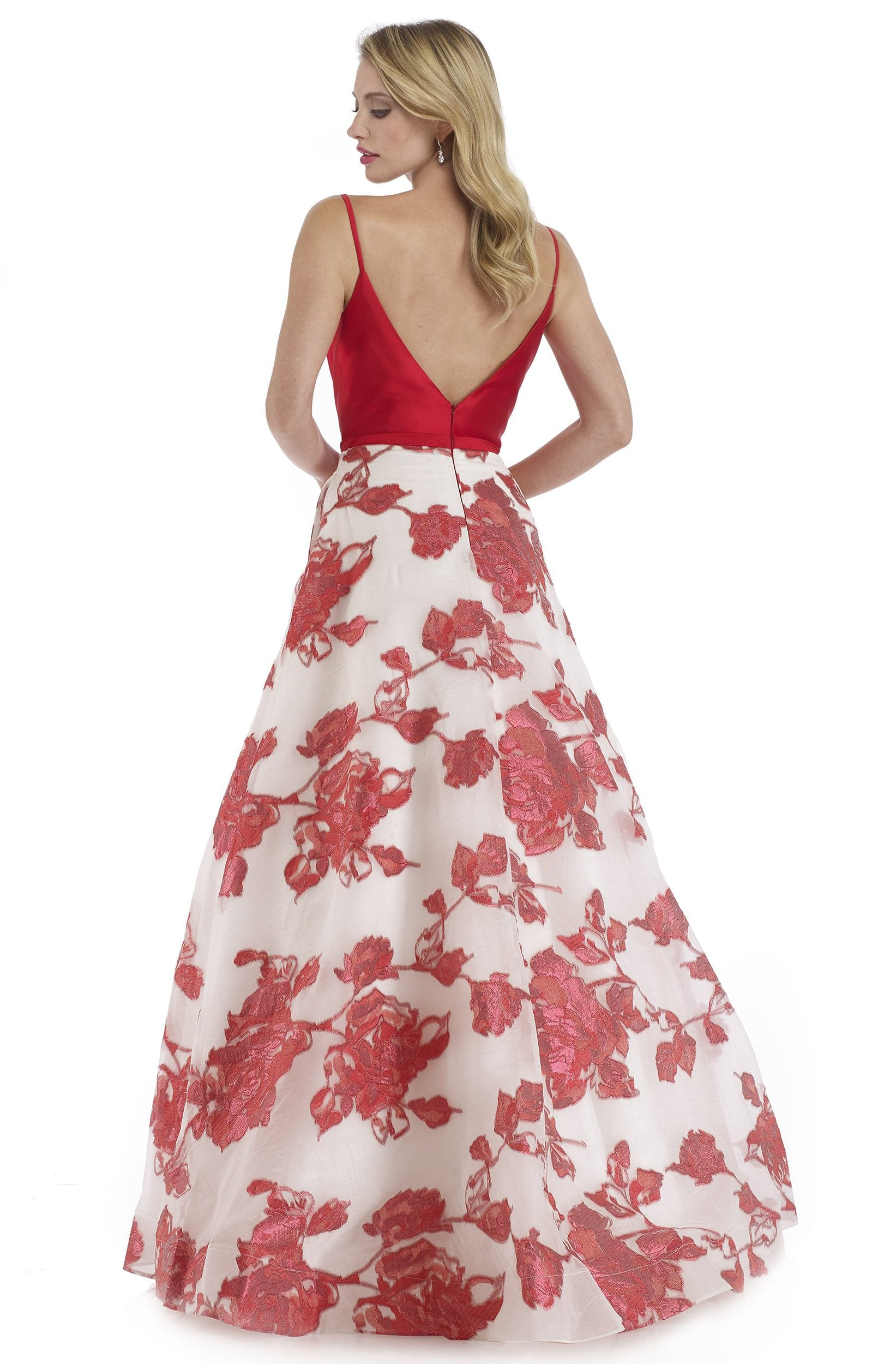 Morrell Maxie - 16090 Mikado Deep V-neck Brocade A-line Dress in Red and White