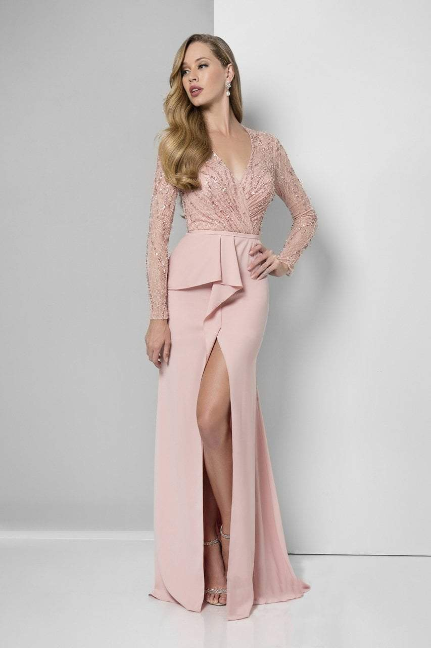 Terani Couture - Long Sleeve Wrap Trumpet Skirt Gown 1611M0635 In Pink
