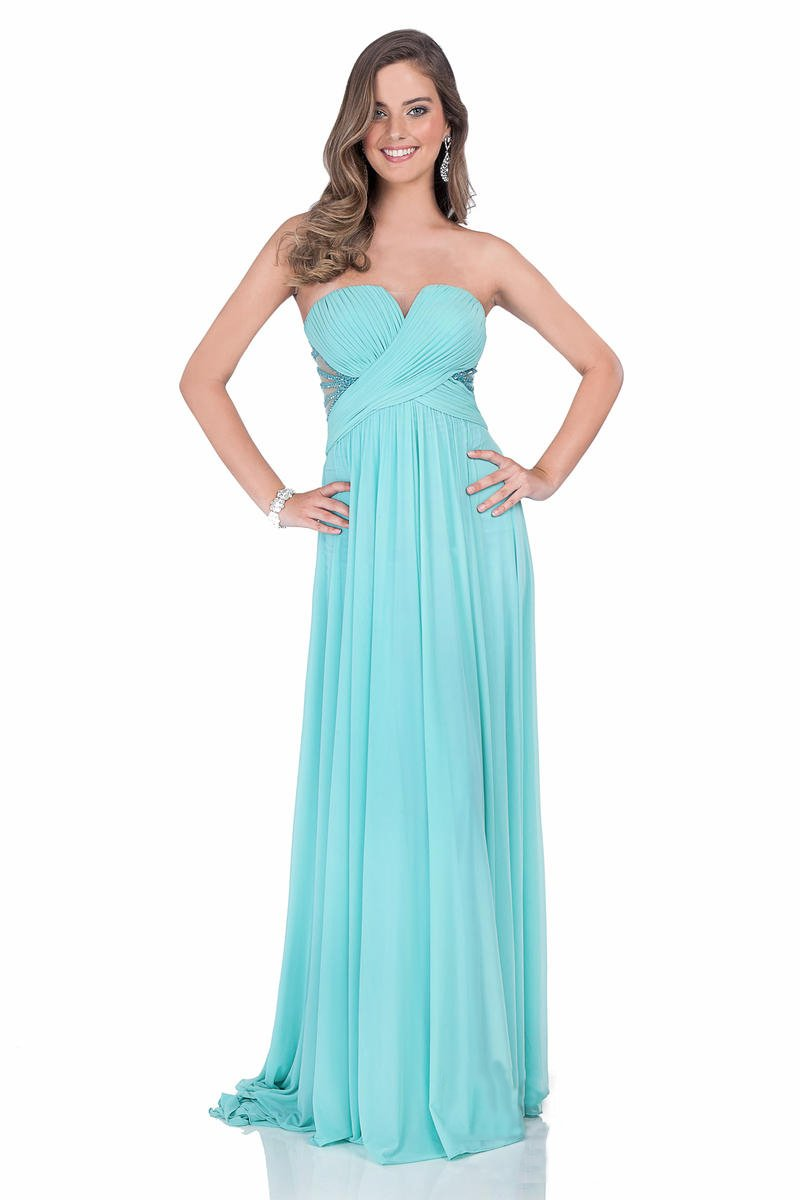 Terani Couture - 1612P0589A Pleated Sweetheart A-line Dress in Blue