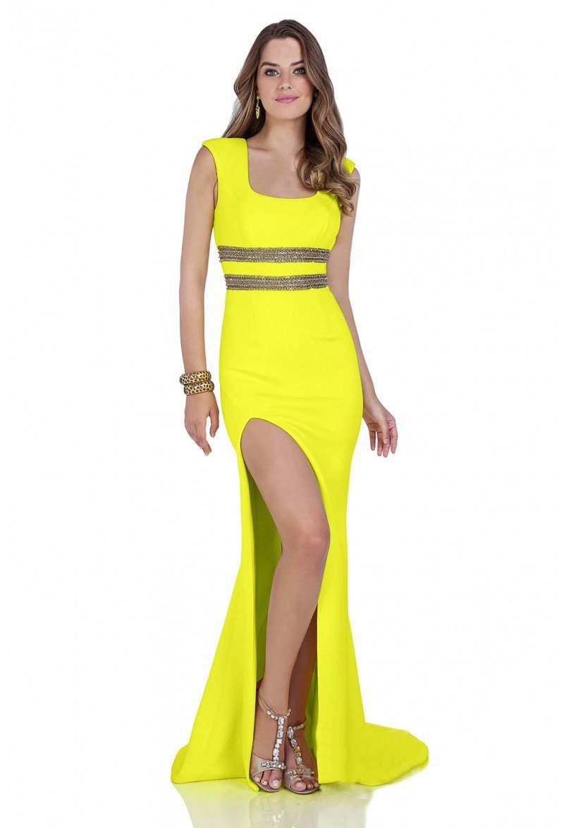 Terani Couture - 1612P0569A Beaded Modified Square Sheath Dress in Yellow