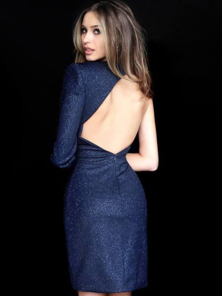 Jovani - 1621 One Shoulder Long Sleeve Sheath Dress In Blue