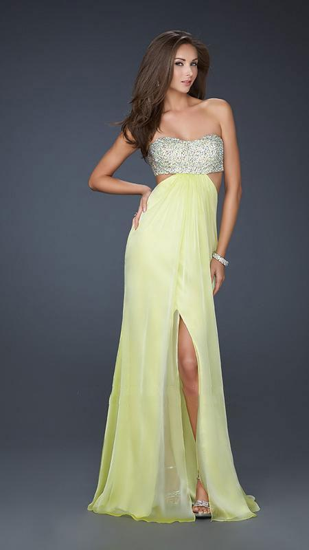 La Femme - Strapless Chiffon Gown with Exquisite Beading 16291 In Yellow and Silver