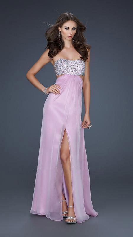 La Femme - Strapless Chiffon Gown with Exquisite Beading 16291 In Pink and Silver