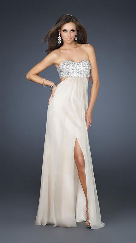 La Femme - Strapless Chiffon Gown with Exquisite Beading 16291 In Neutral and Silver