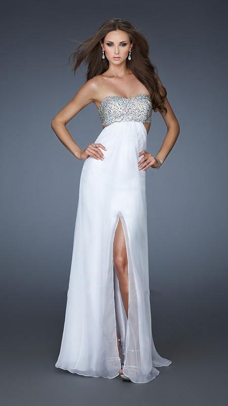 La Femme - Strapless Chiffon Gown with Exquisite Beading 16291 In White and Silver