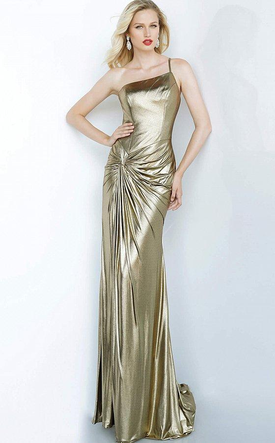 Jovani - 1636 Knotted Asymmetrical Column Dress In Gold