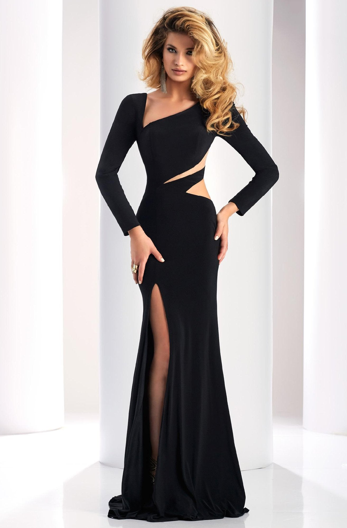 Clarisse - 4859 Long Sleeve Cutout Sheath Gown in Black