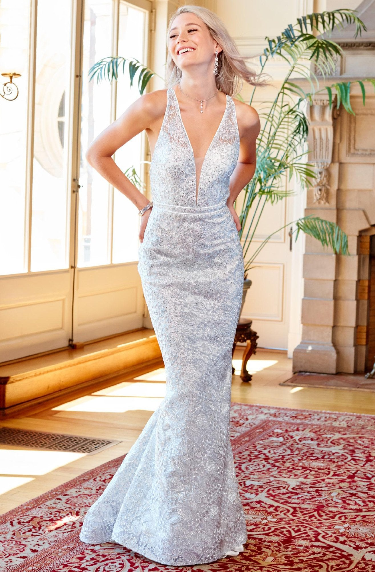 Clarisse - 4960 Deep V-neck Lace Mermaid Dress in Silver
