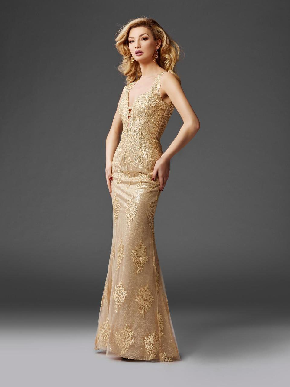 Clarisse - 4961 Embellished Deep V-neck Sheath Dress in Gold