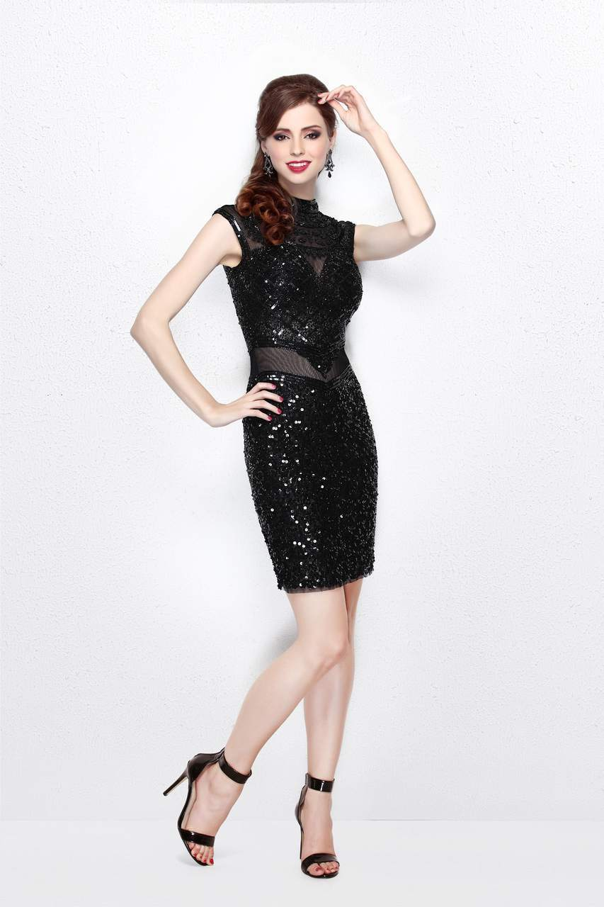 Primavera Couture - Beaded High Illusion Cap Sleeve Sheath Cocktail Dress 1661 in Black