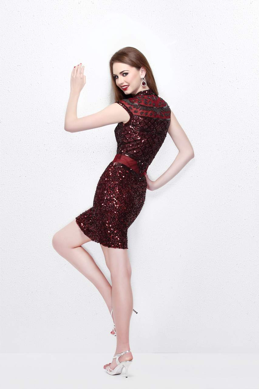 Primavera Couture - Beaded High Illusion Cap Sleeve Sheath Cocktail Dress 1661 in Red