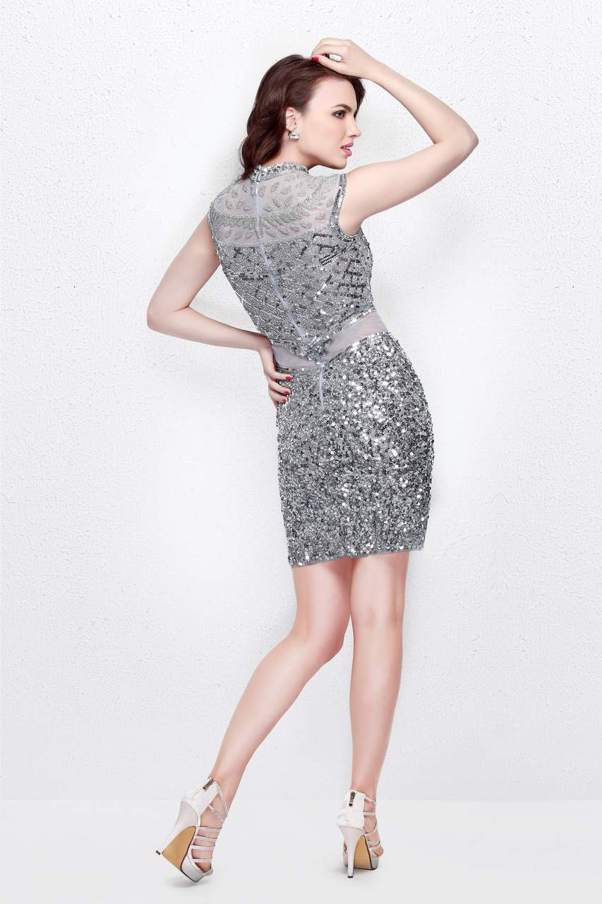 Primavera Couture - Beaded High Illusion Cap Sleeve Sheath Cocktail Dress 1661 in Silver