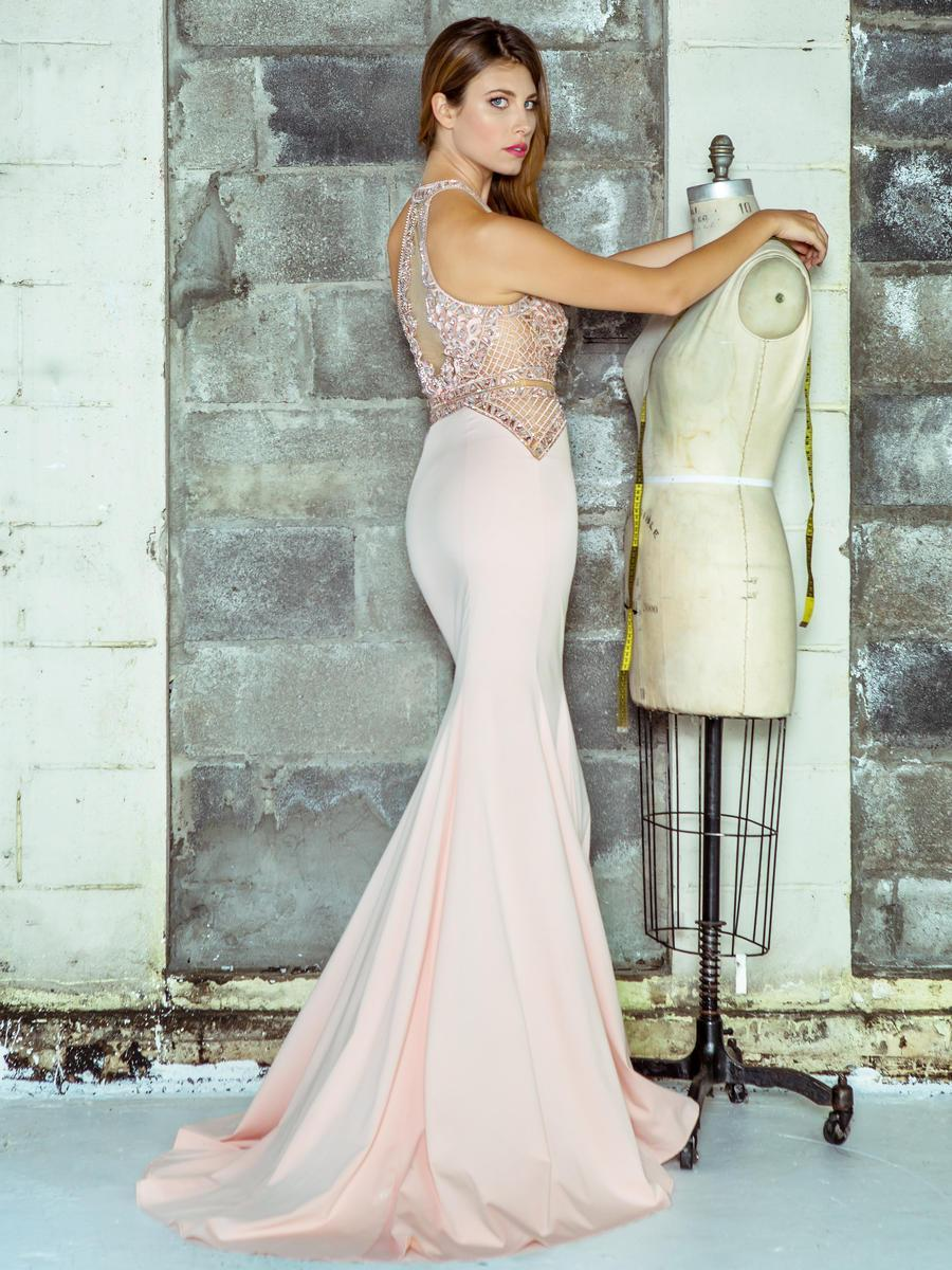Colors Dress - 1669 Illusion High Halter Lattice Gown in Pink
