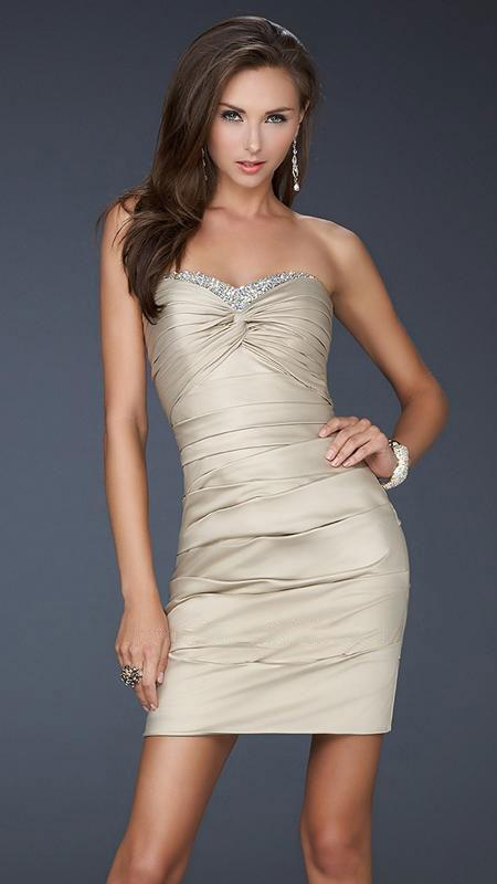 La Femme - Jewel Encrusted Pleated Sweetheart Short Sheath Dress 16934 In Neutral