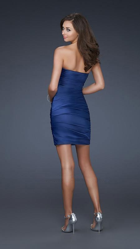 La Femme - Jewel Encrusted Pleated Sweetheart Short Sheath Dress 16934 In Blue