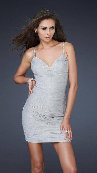 La Femme - Intricately Creased Sweetheart Sheath Cocktail Dress 16994 In Silver