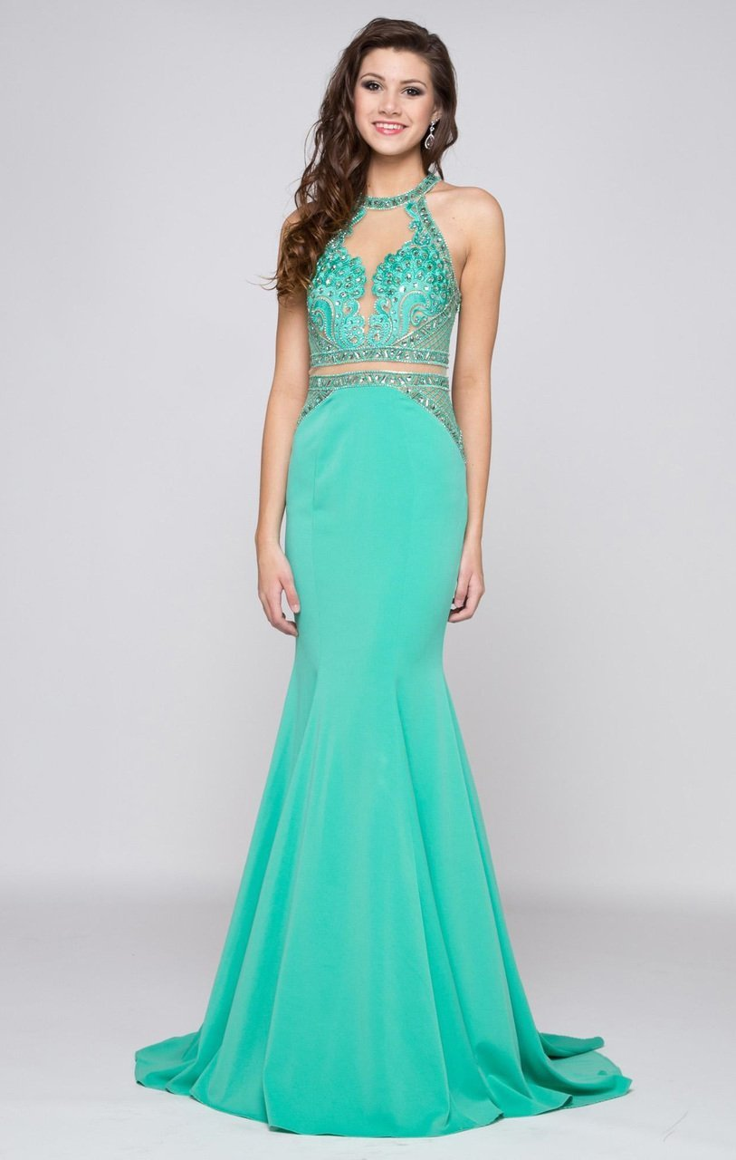 Colors Dress - 1669 Illusion High Halter Lattice Gown in Green