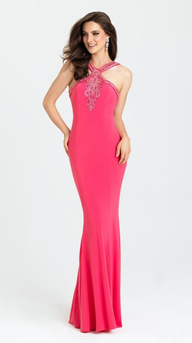 Madison James - Halter Fitted Sheath Evening Dress l16-373 In Pink