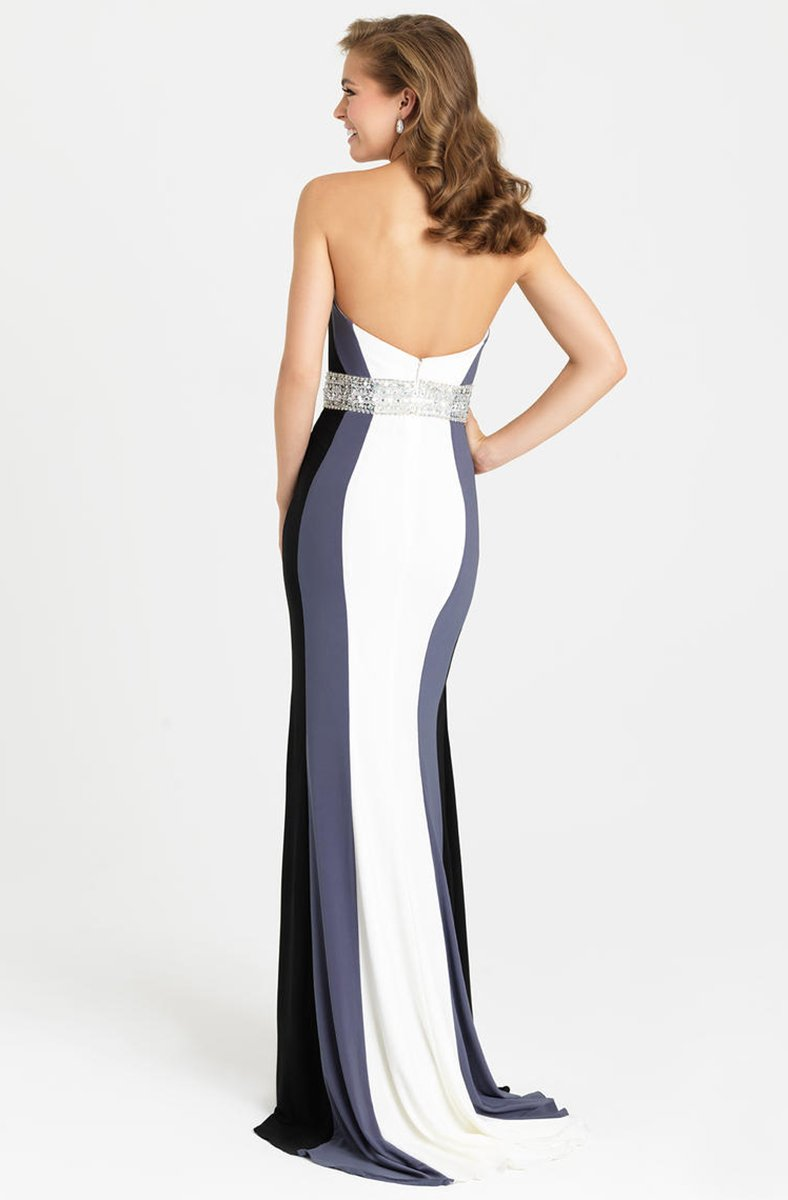Madison James - 16-381 Strapless Colorblock Dress In White