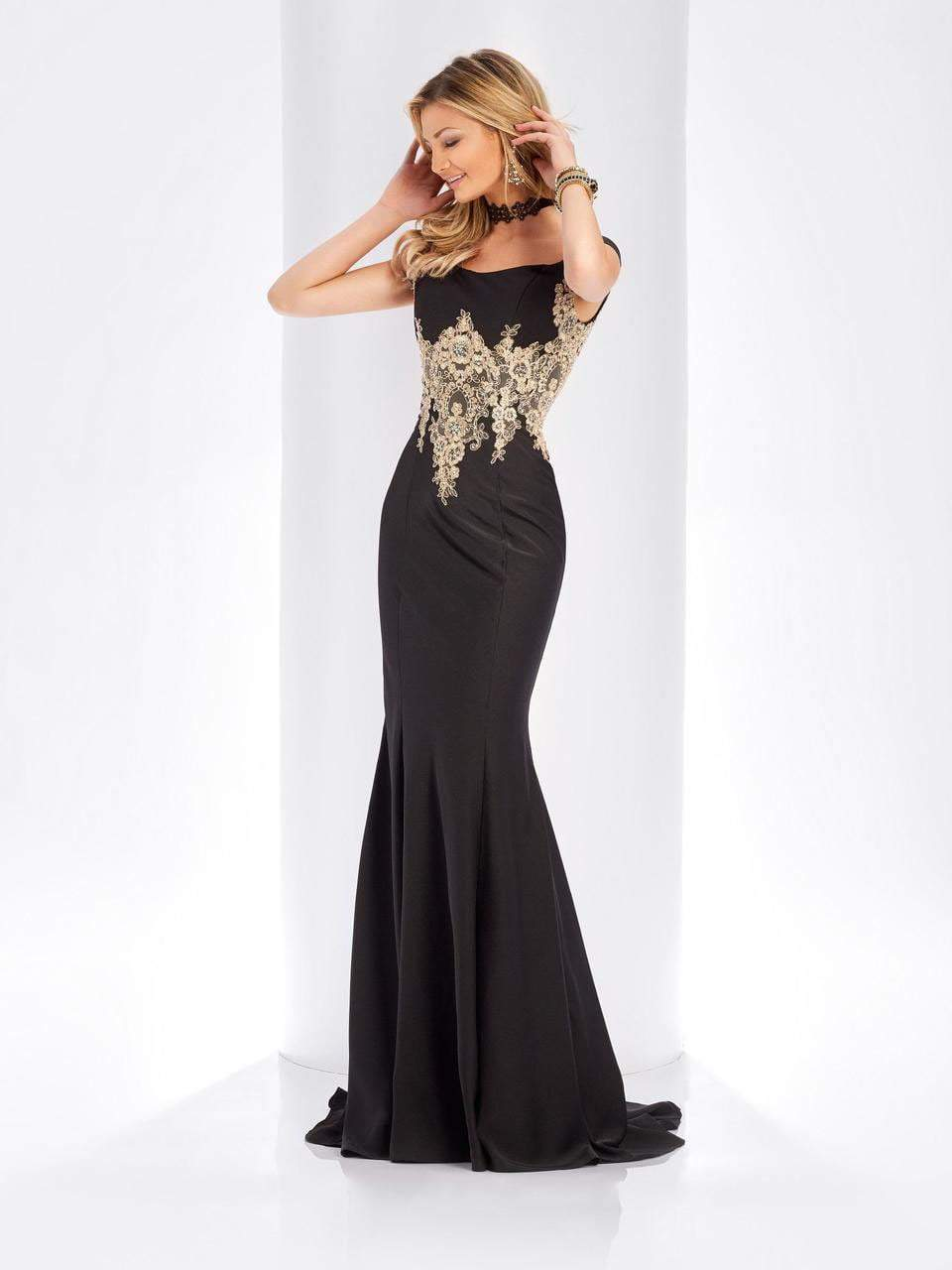Clarisse - 3452 Gold Lace Applique Evening Gown in Black