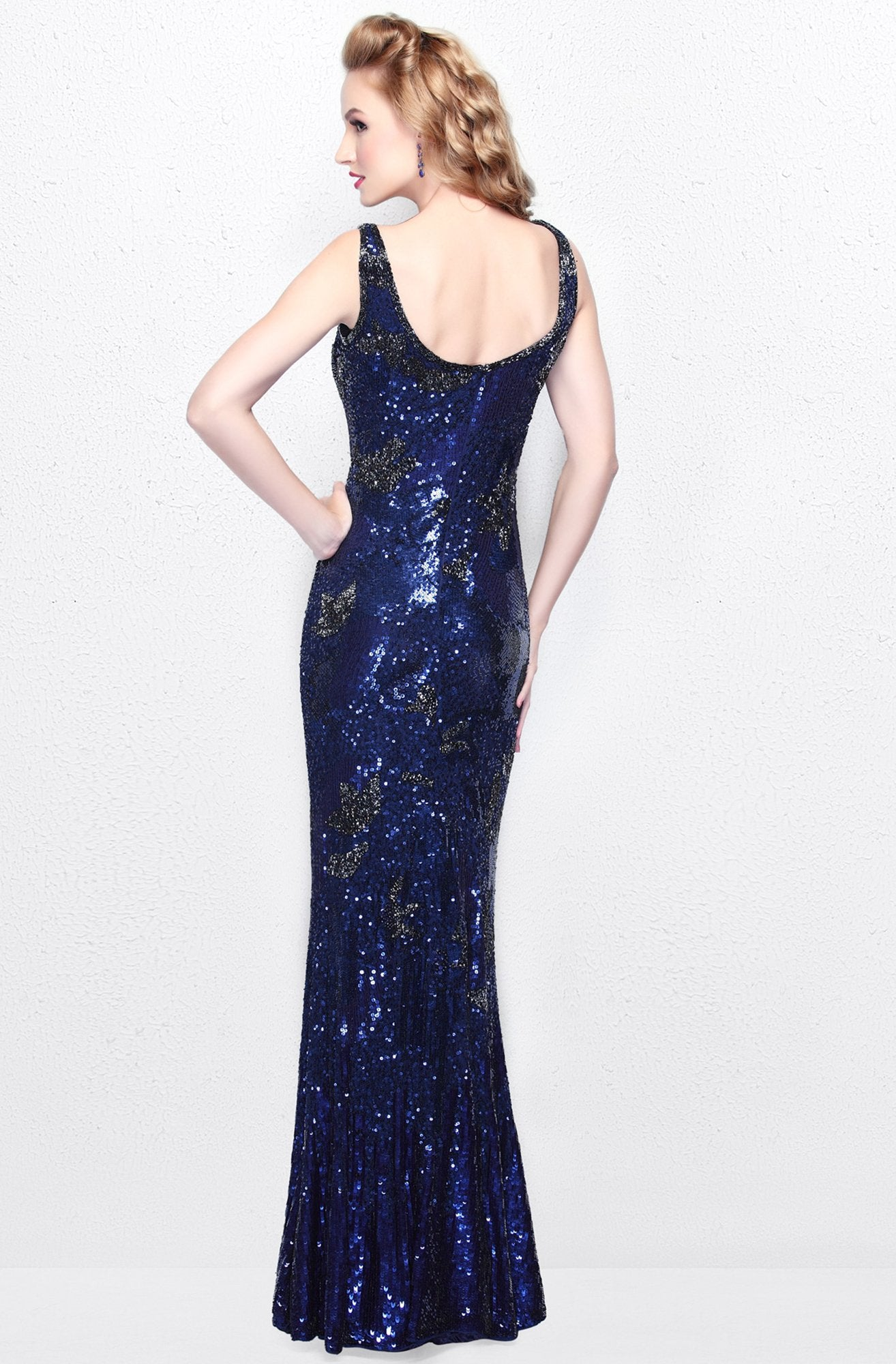 Primavera Couture - Sequined V-Neck Long Sheath Dress 1702 in Blue