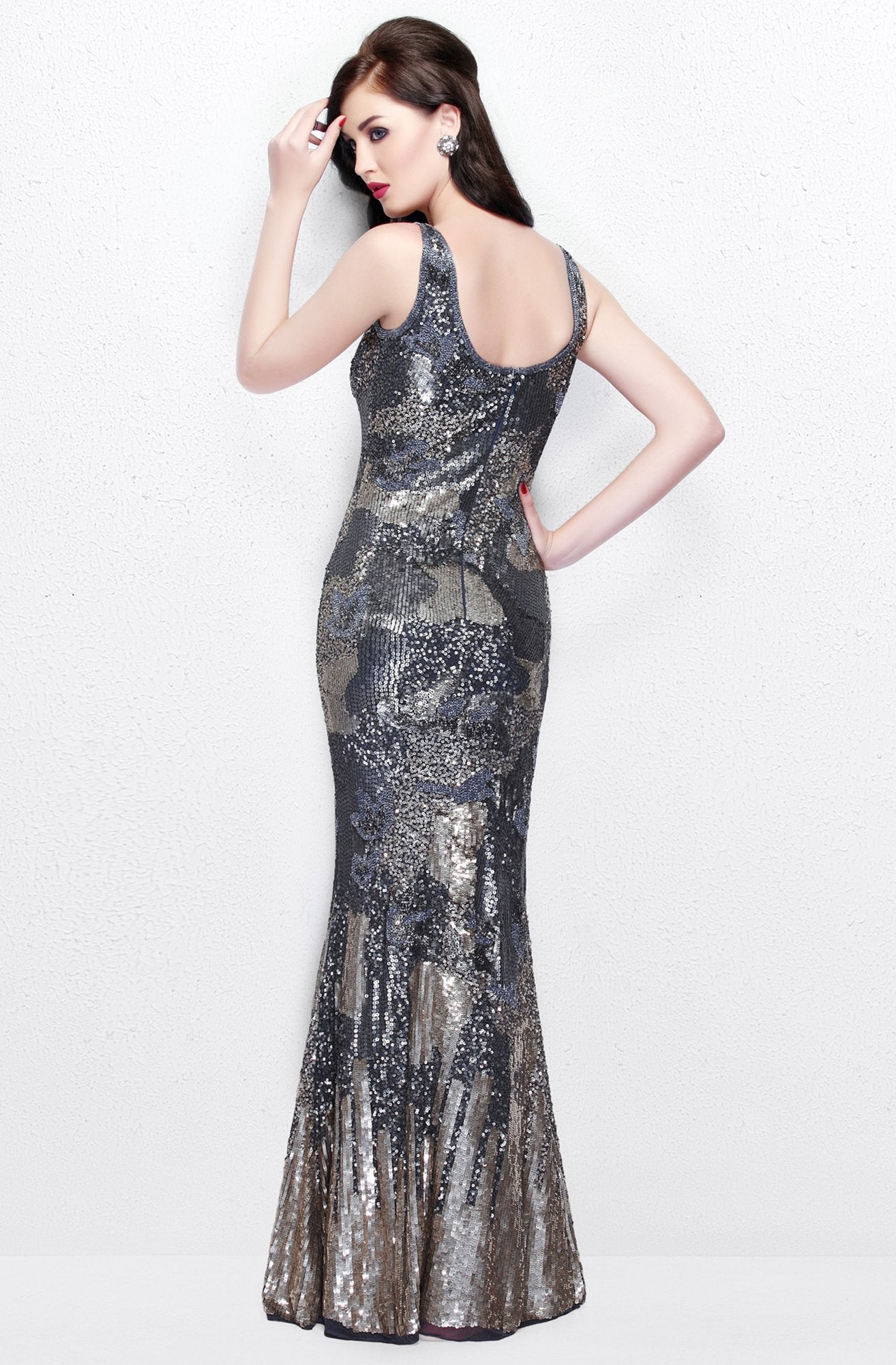 Primavera Couture - Sequined V-Neck Long Sheath Dress 1702 in Neutral and Multi-Color