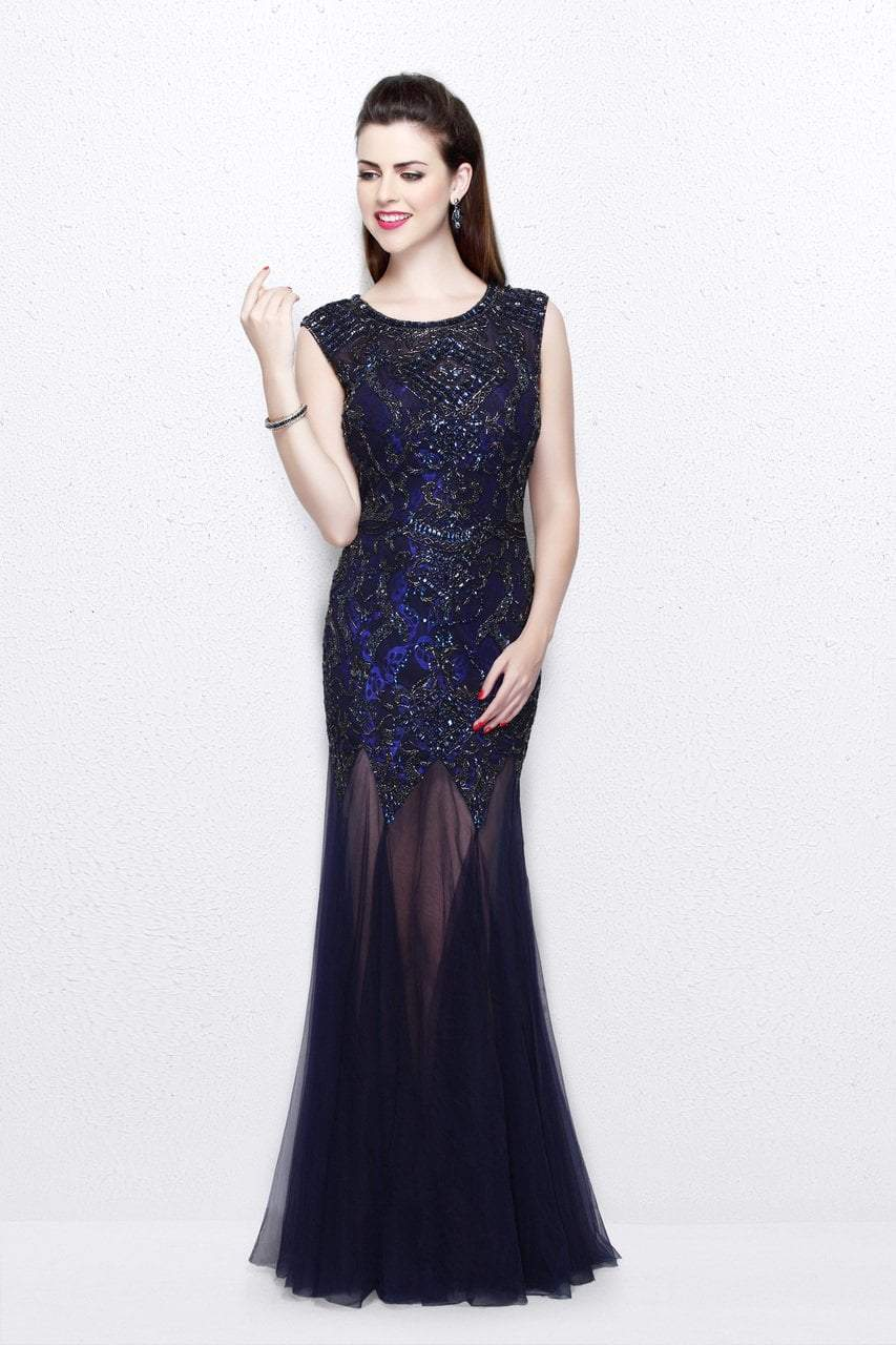 Primavera Couture - Intricately Ornate Cap Sleeve Bateau Tulle Trumpet Gown 1703 in Blue