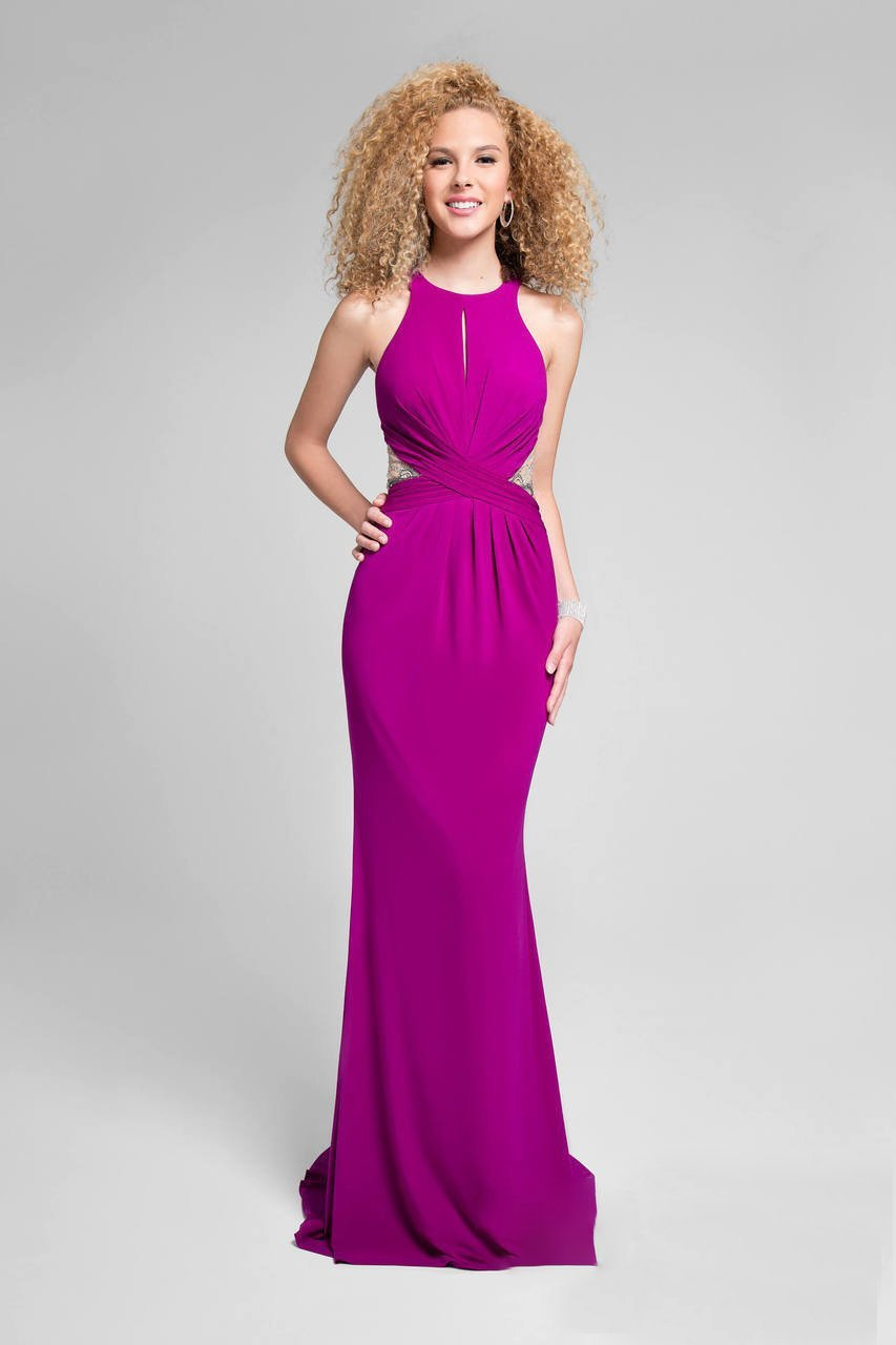 Terani Couture - Stylish Sleeveless Open Back Dress 1715P2977 in Purple