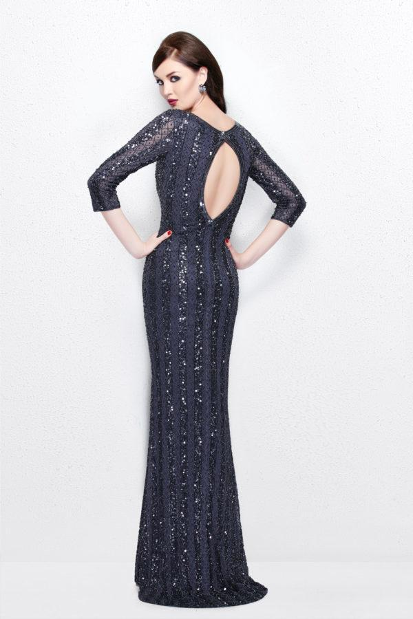 1719 Sheer Quarter Sleeve Embellished Evening Gown In Gray