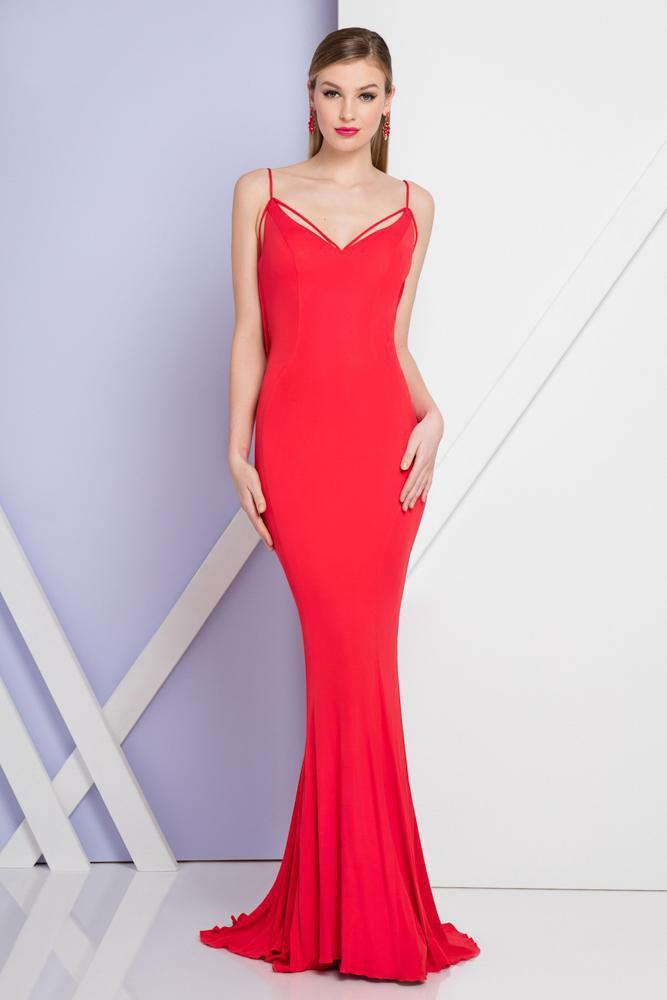 Terani Couture - 1721E4179 Cowl V-Neck Sheath Dress in Red