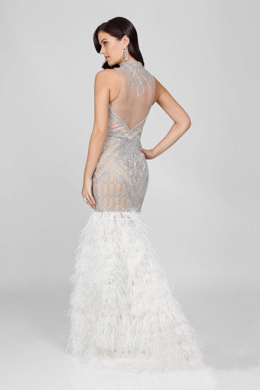 Terani Couture - Embellished Feather Fringed Mermaid Gown 1721GL4452 In White and Neutral