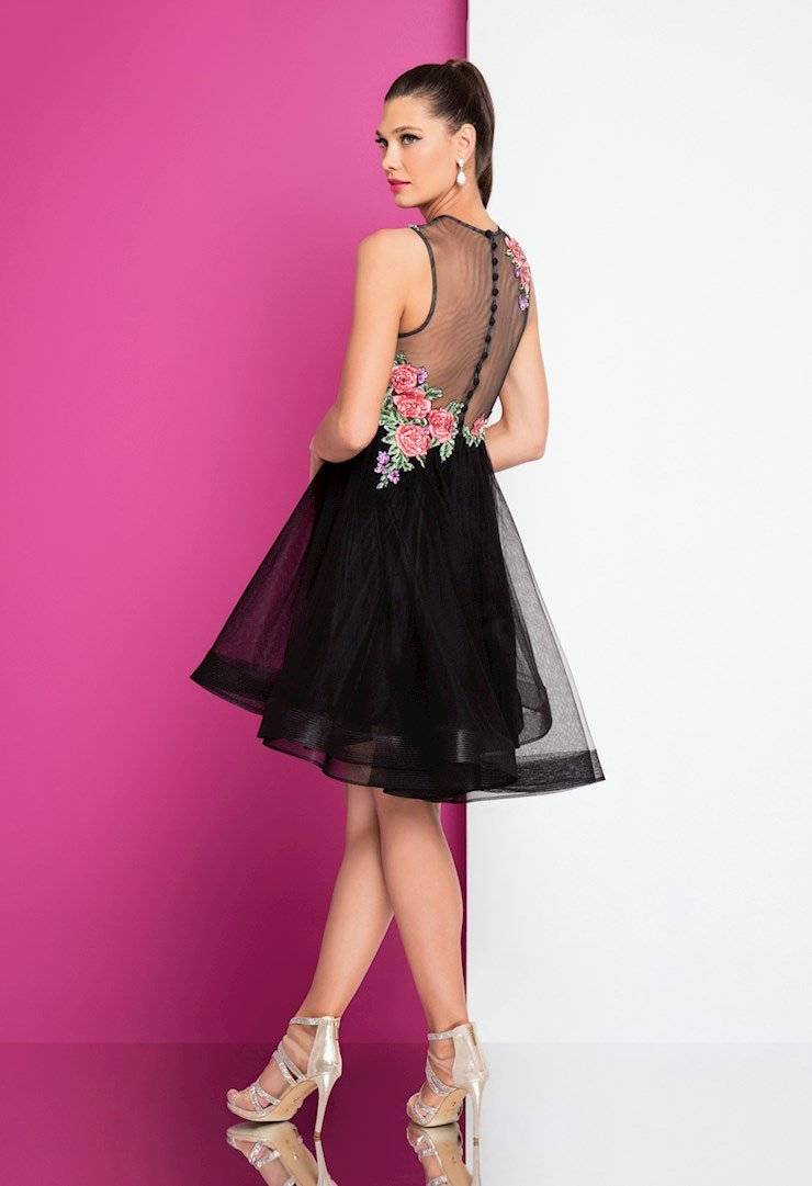 Terani Couture - 1721H4517 Floral Embroidered Illusion Dress in Black and Multi-Color