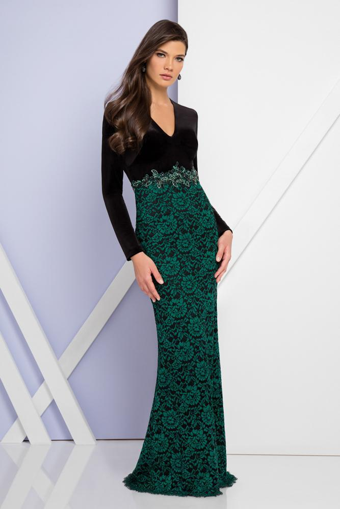 Terani Couture - Long Sleeved V-Neck Sheath Dress 1722E4190W in Black and Green
