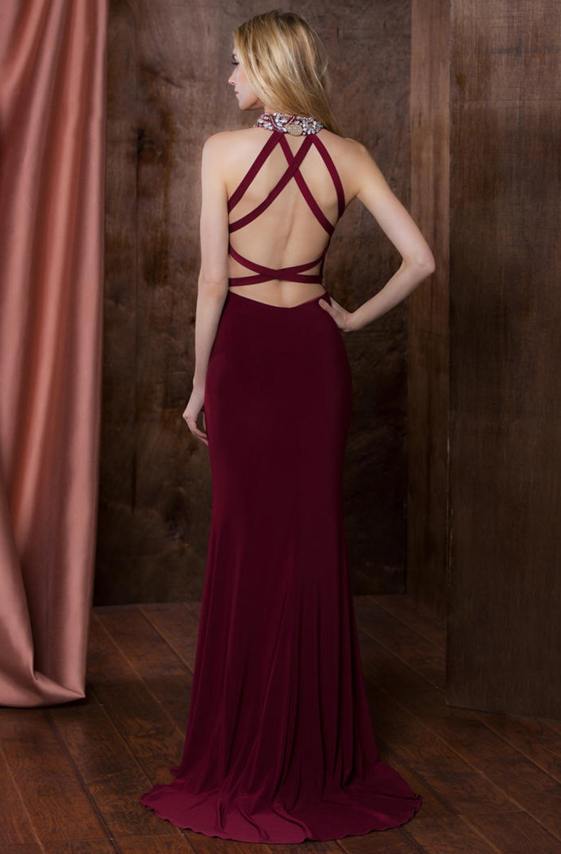 Colors Dress - 1741 Halter Neck Sheath Dress in Red
