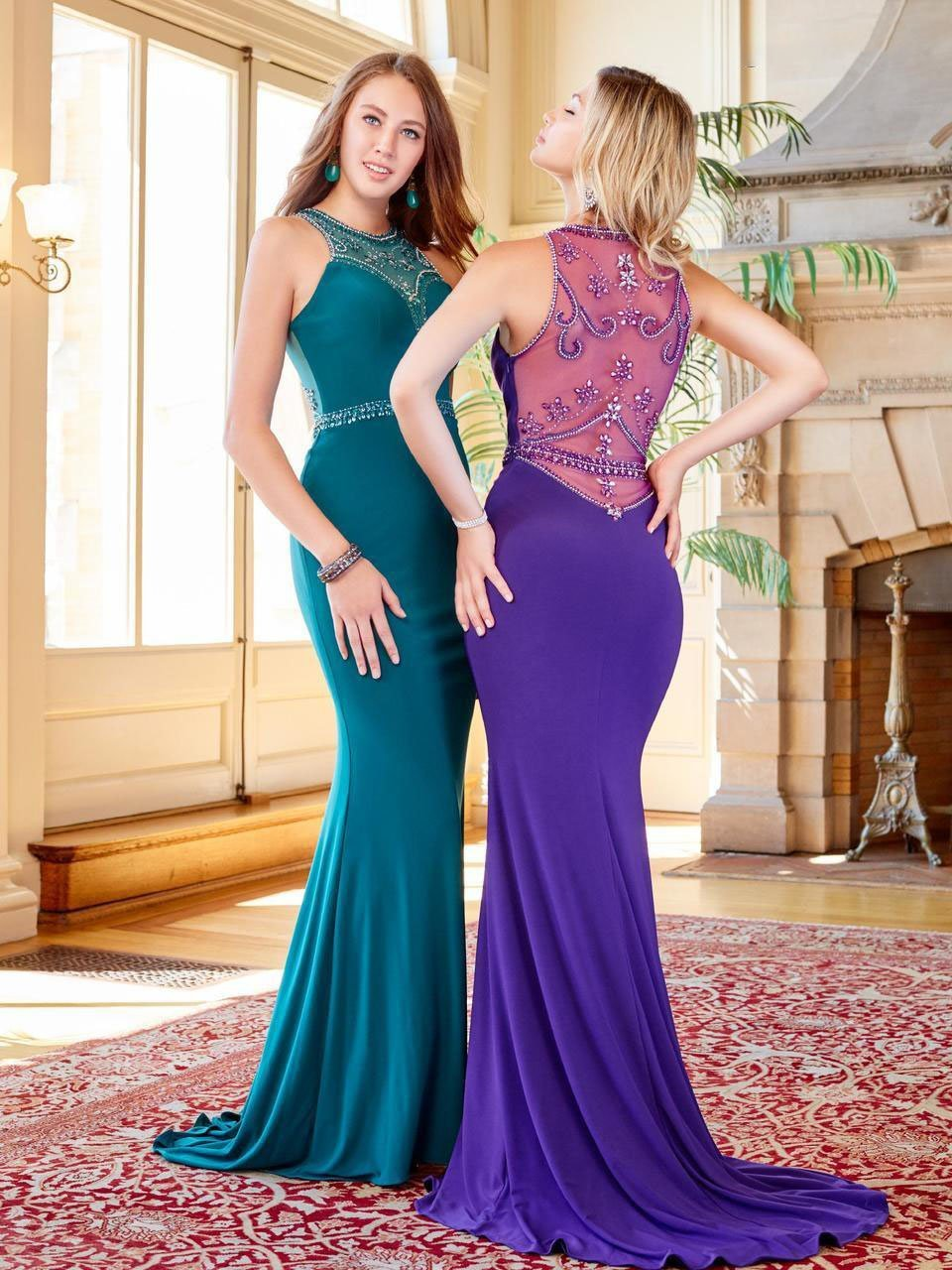 Clarisse - 3511 Bejeweled High Illusion Halter Gown in Green and Purple
