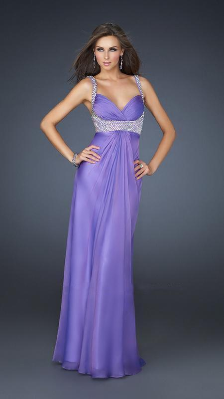 La Femme - Bead Embellished Ruched Sweetheart Chiffon A-line Gown 17543 In Purple